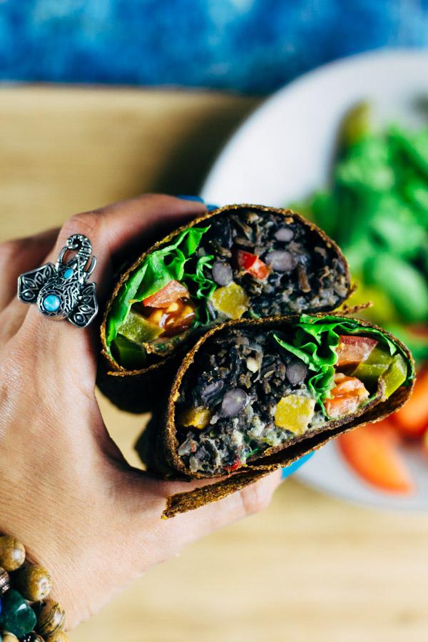 Vegan Wild Rice Black Bean Burrito   SproutingZen.com