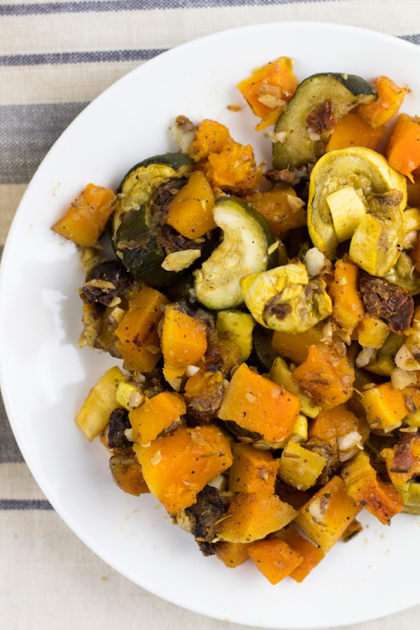 Vegan Roasted Butternut Squash with Zucchini, Yellow Squash and Dates. Oil Free. | SproutingZen.com