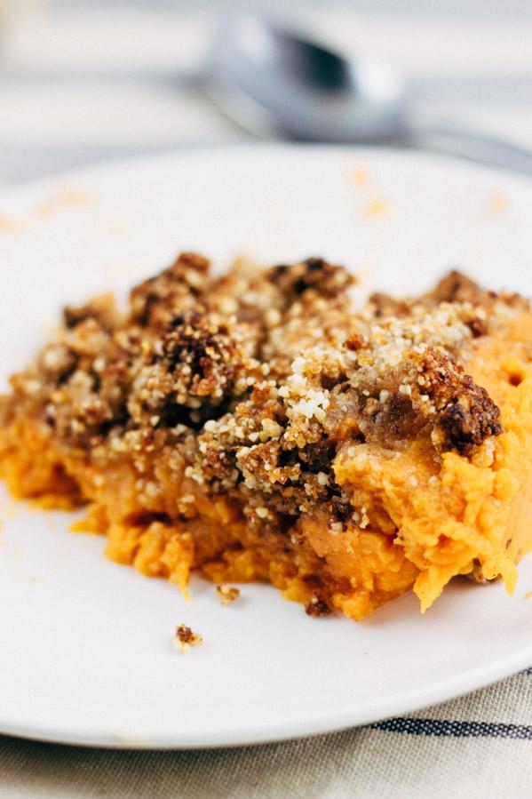 Vegan Sweet Potato Casserole, Oil free, Refined Sugar Free. | SproutingZen.com