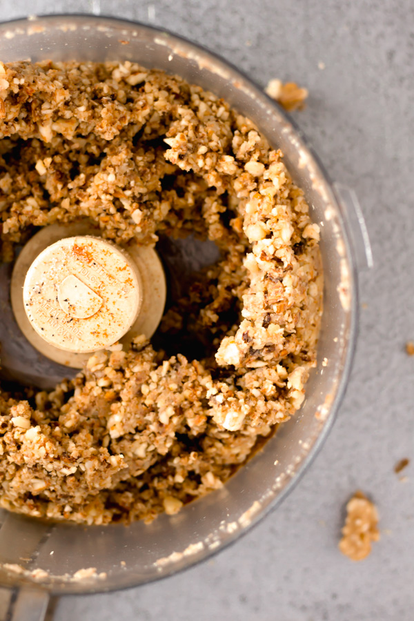 food processor with walnut meat