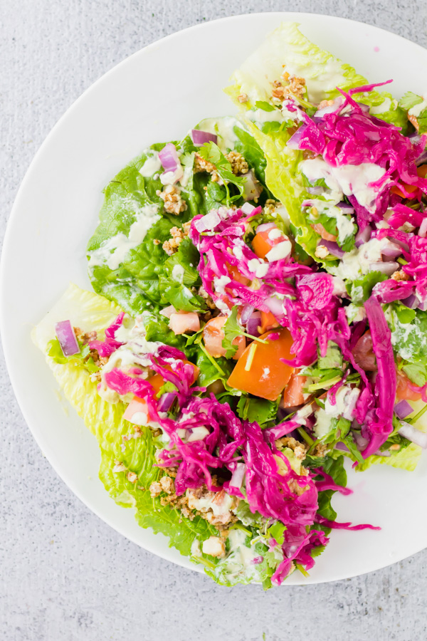 raw vegan romaine lettuce tacos on a dish