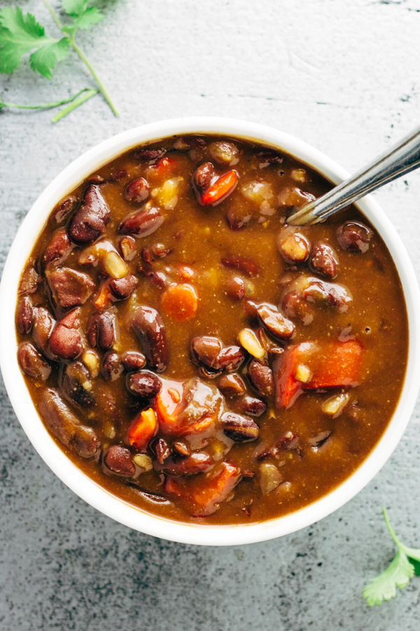a bowl of vegan red kidney bean soup