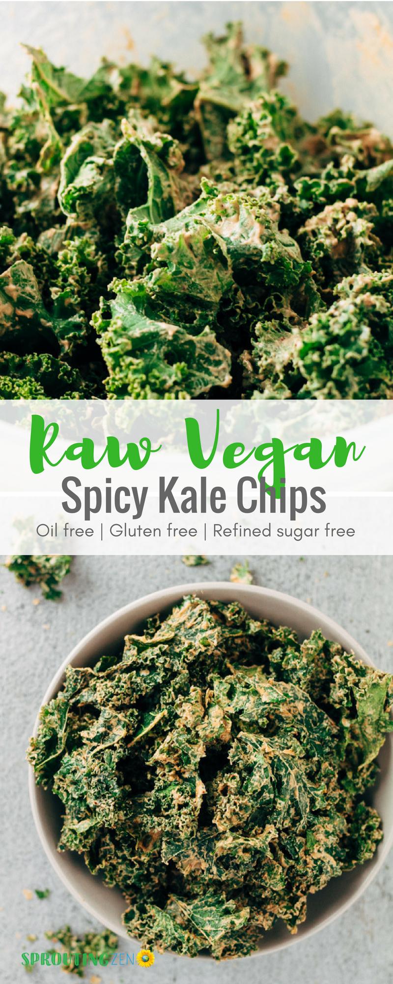 Dehydrated Raw Vegan Spicy Kale Chips #vegan #plantbased #veganfood #kalechips