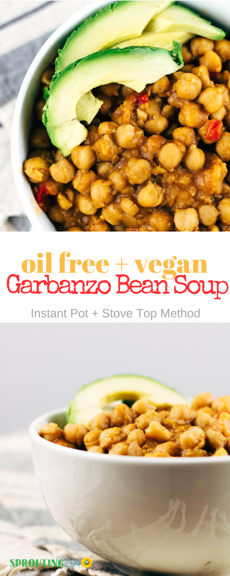 Easy Cuban-Inspired Oil free Garbanzo Bean Soup Recipe #vegan #plantbased #gluten free