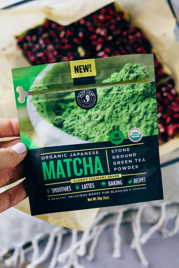 Vegan Pomegranate Blueberry Matcha Cake Recipe | SproutingZen.com