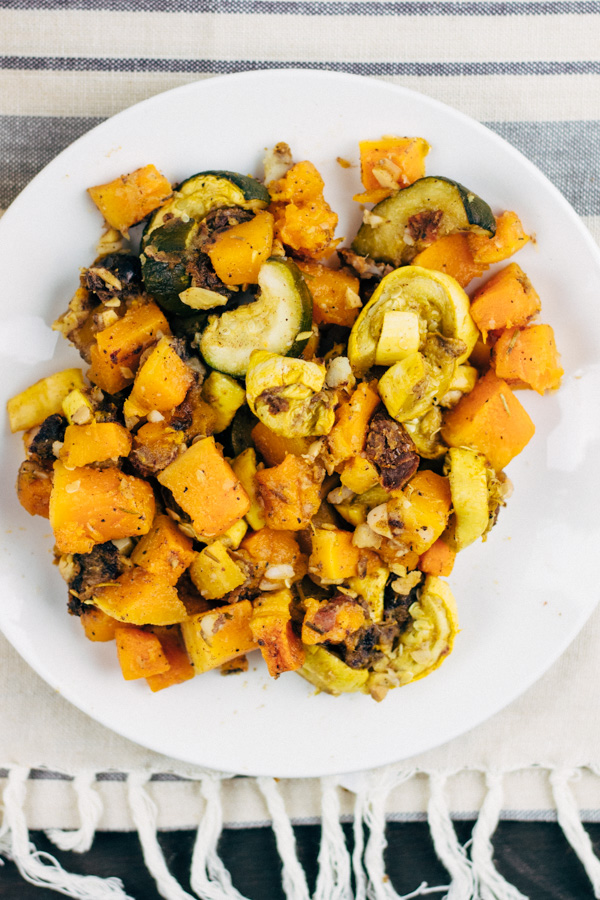 Vegan Roasted Butternut Squash with Zucchini and Yellow Squash. Oil free. | SproutingZen.com