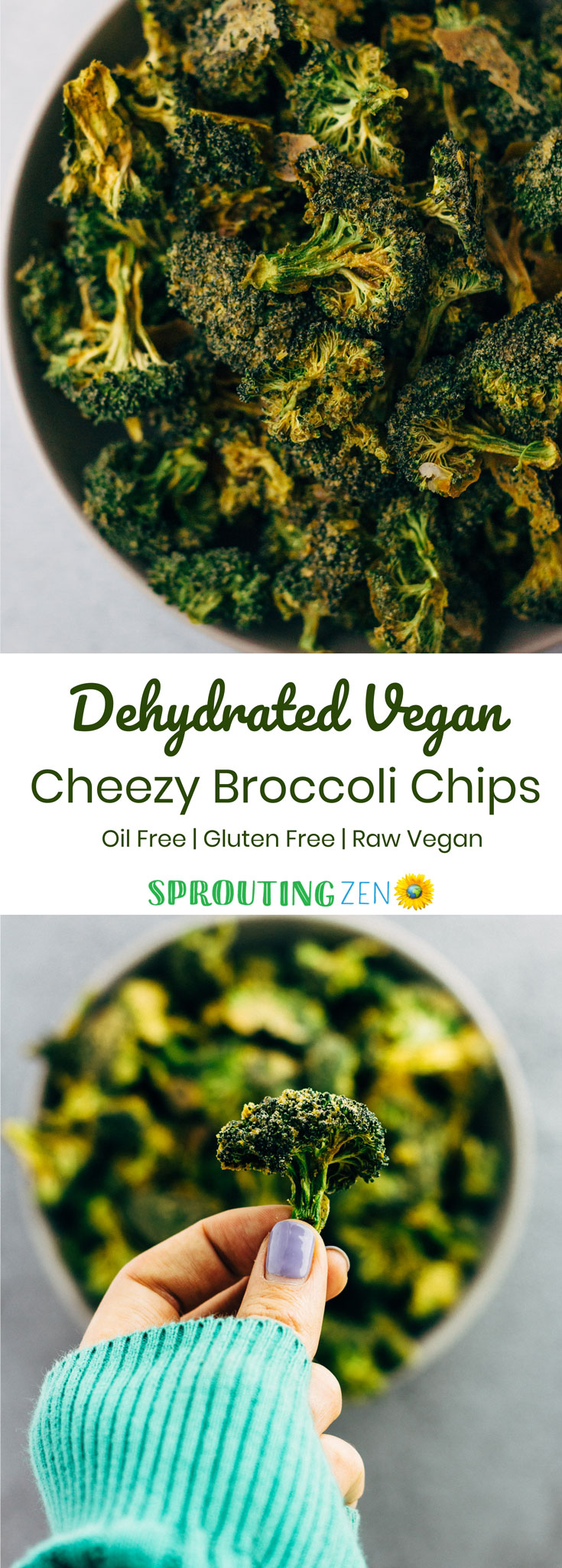Raw Vegan Cheezy Broccoli Chips made in the dehydrator. #veganrecipes #whatveganseat #rawvegan #plantbased