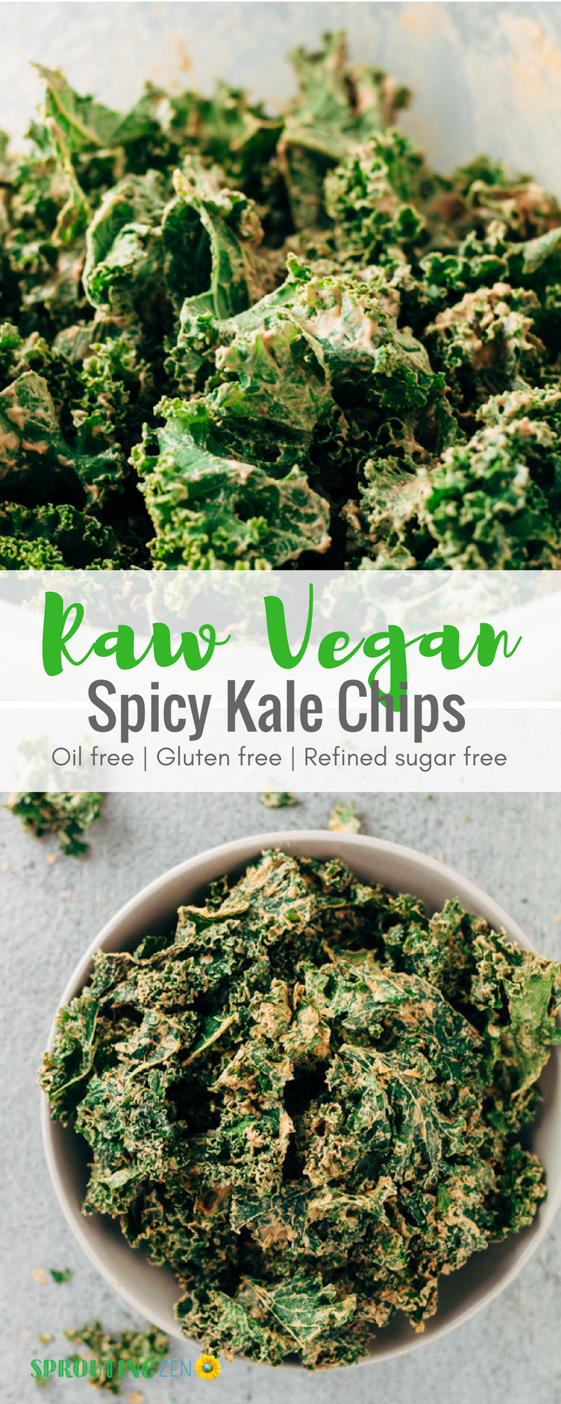 Dehydrated Raw Vegan Spicy Kale Chips #vegan #plantbased #veganfood #kalechips