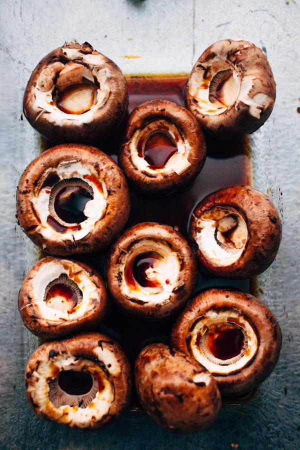 a bowl of baby bella mushrooms soaked in tamari sauce
