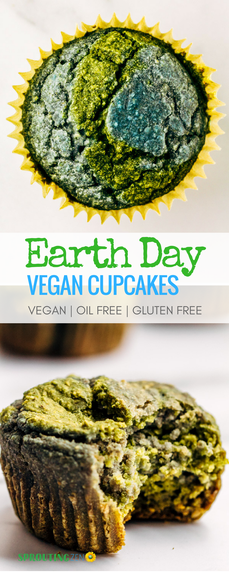 A fun and easy way to celebrate EARTH day! Vegan cupcakes that are oil free, refined sugar free, and gluten free! #VEGAN #PLANTBASED #EARTHDAY