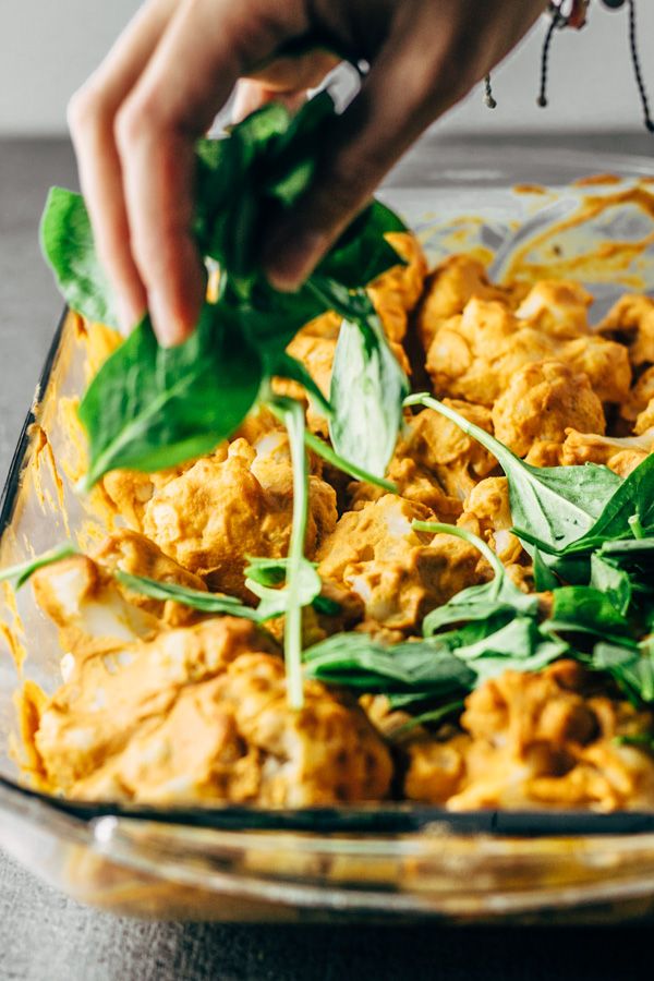 easy healthy vegan buffalo cauliflower casserole dish recipe