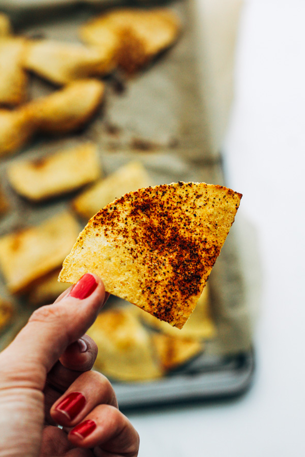 homemade vegan baked tortilla chip
