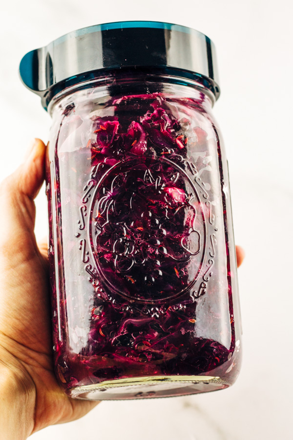 homemade sauerkraut in a mason jar