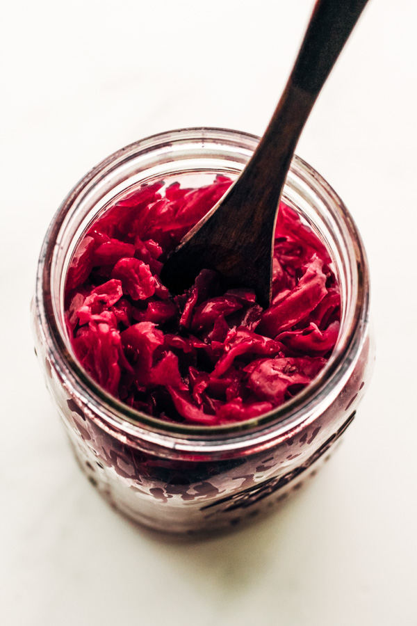 homemade sauerkraut recipe in a mason jar