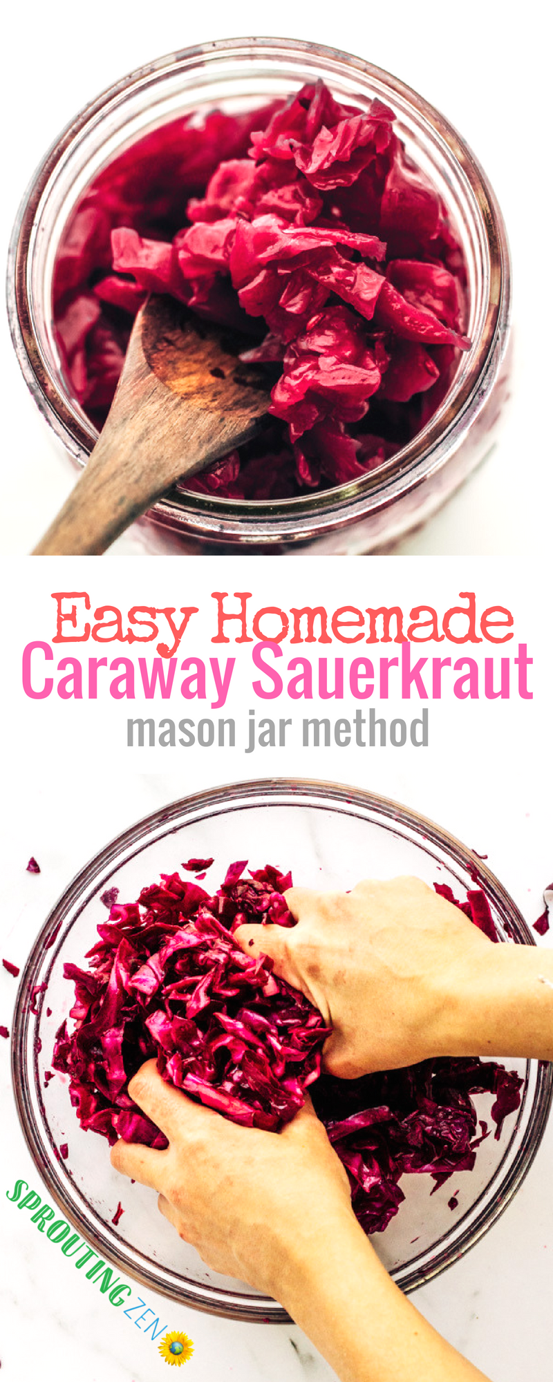 Learn how to make homemade sauerkraut with caraway and garlic flavors. Plus, valuable tips on achieving a good ferment. #sauerkraut #fermenting #vegan #plantbased