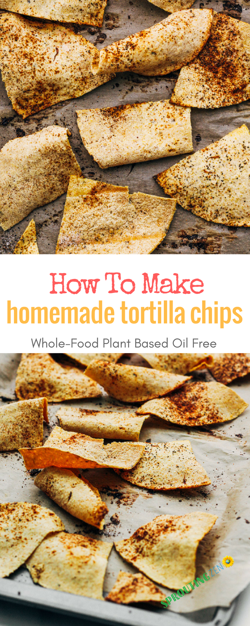 How to make OIL free homemade tortilla chips out of corn or flour tortillas! #vegan #plantbased #veganrecipes #nachos