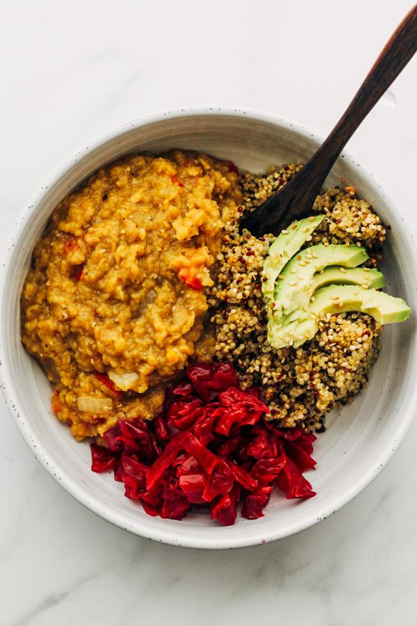 easy vegan smoky red lentil stew