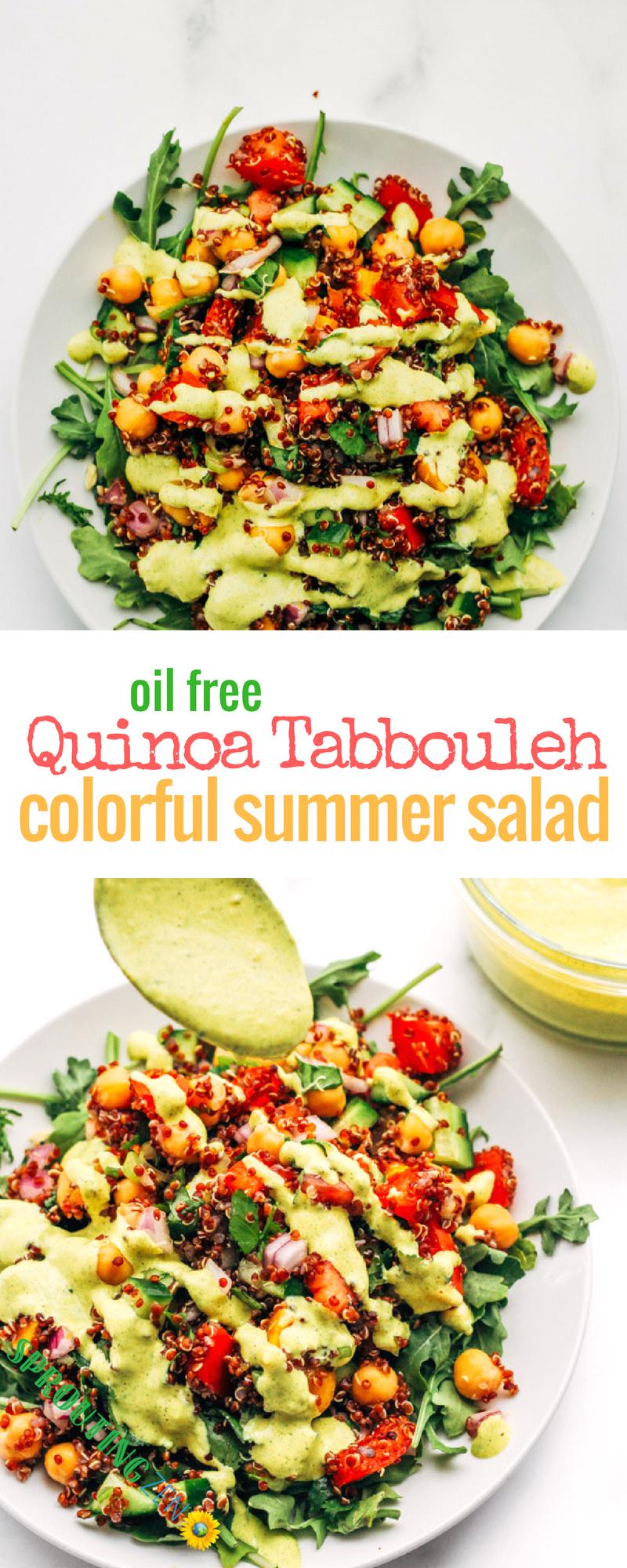 Quinoa Tabbouleh Summer Salad Recipe That is Oil free. #vegan #plantbased #tabbouleh #summer #summerecipes #summersalads