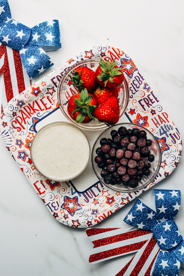 Red, White And Blue Fourth of July Vegan Healthy fruit pops