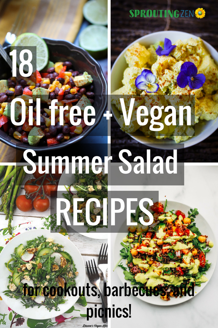 18 oil free and vegan #summer salad recipes! Perfect for cookouts, barbecues, and picnics! #vegan #plantbased #veganrecipes #saladrecipes #healthyfood