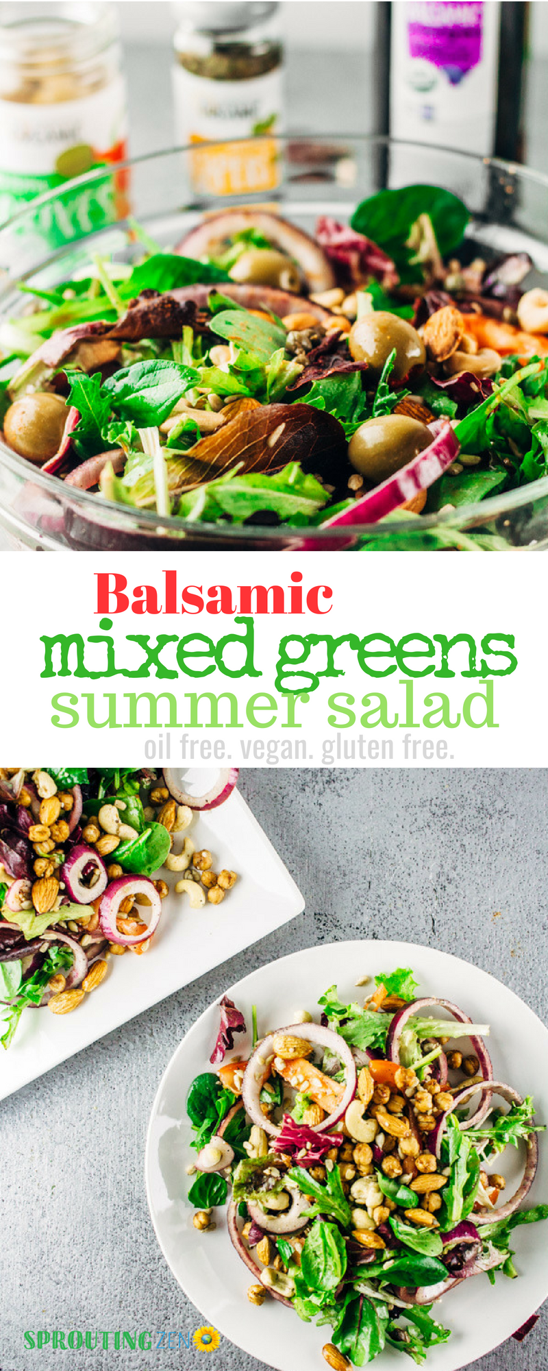 A feel-good balsamic Mixed Greens Summer Salad done right. #plantbased #vegan #summersalads