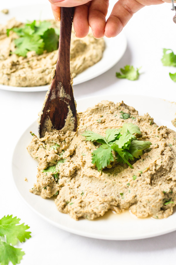 easy vegan babaganoush recipe on a dish