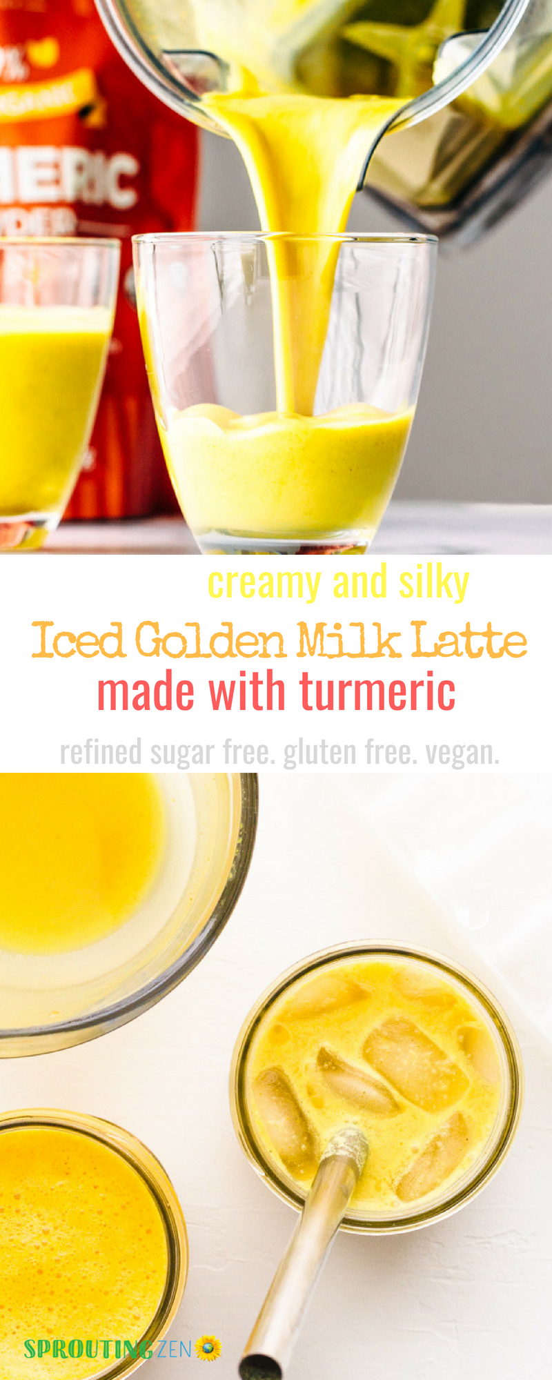 Creamy and silky Iced Golden Milk Latte made with turmeric! #breakfast #summer #vegan #healthy