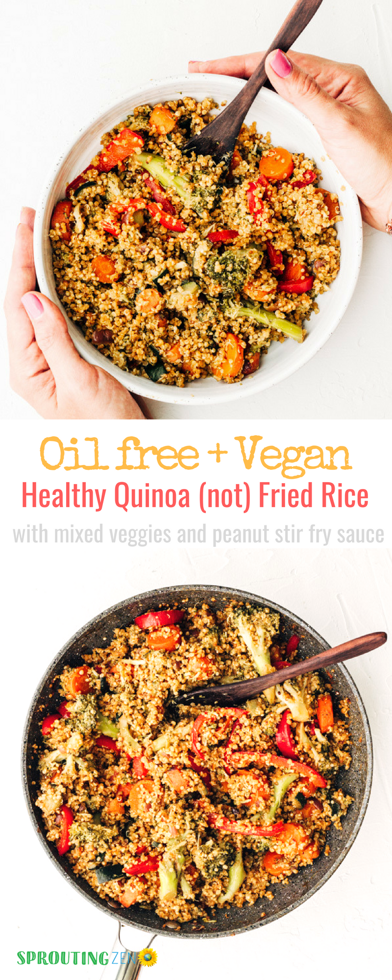 Healthy Oil free Vegan Quinoa (not) fried rice with mixed vegetables and a homemade peanut stir fry sauce. #vegan #plantbased #dinnerrecipes | Sprouting Zen
