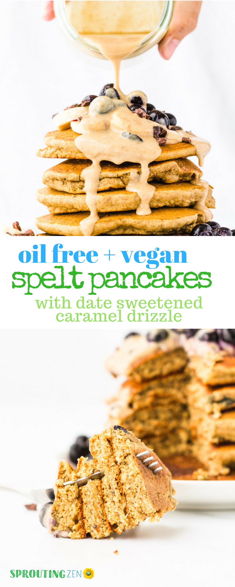 Easy Vegan Spelt Pancake Recipe that is Oil free and Refined sugar free. Topped with a date-sweetened caramel drizzle! So yum. #vegan #plantbased #breakfastrecipes