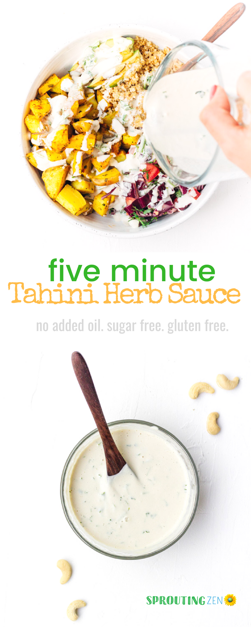 Tasty homemade vegan tahini herb dressing that's ready in under five minutes and with no added oil. #vegan #plantbased | Sprouting Zen