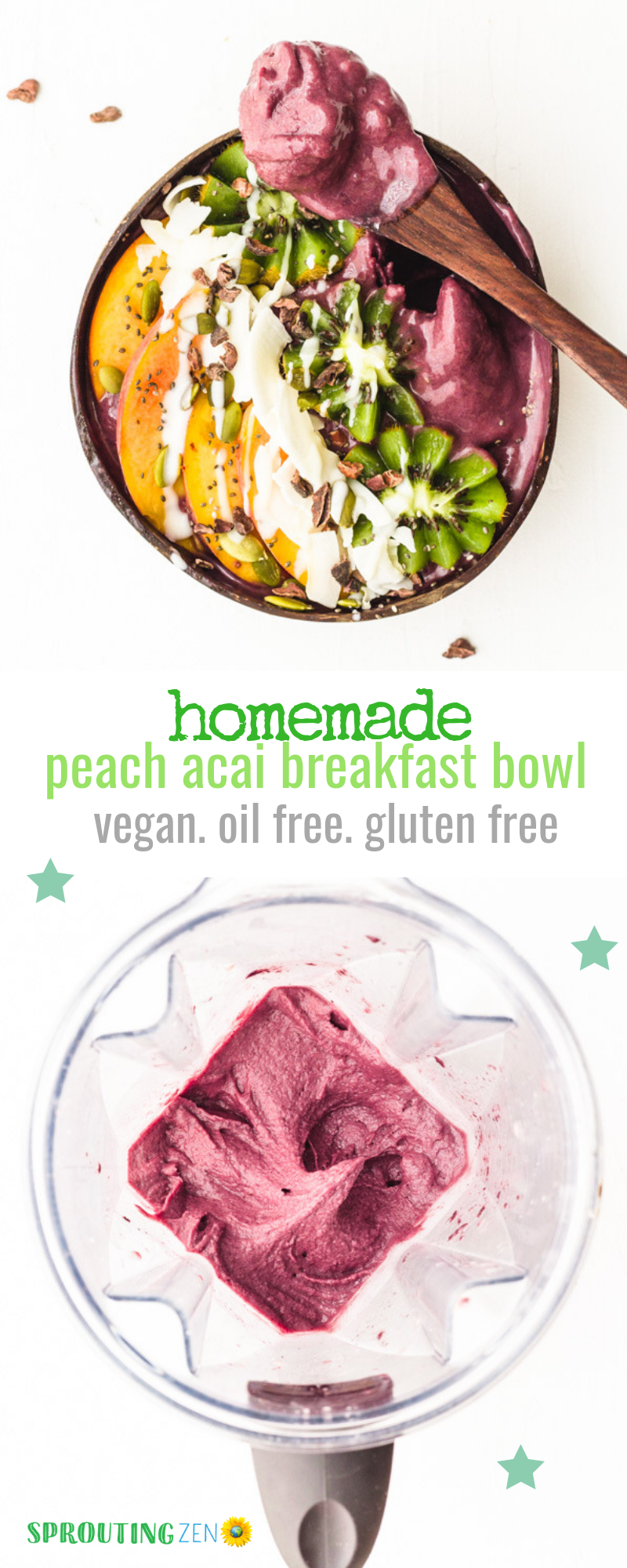 The best breakfast meal EVER! Homemade Peach Acai Bowl - so delicious! #vegan #plantbased #breakfast | Sprouting Zen