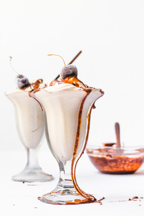 vegan hot fudge vanilla ice cream sundae