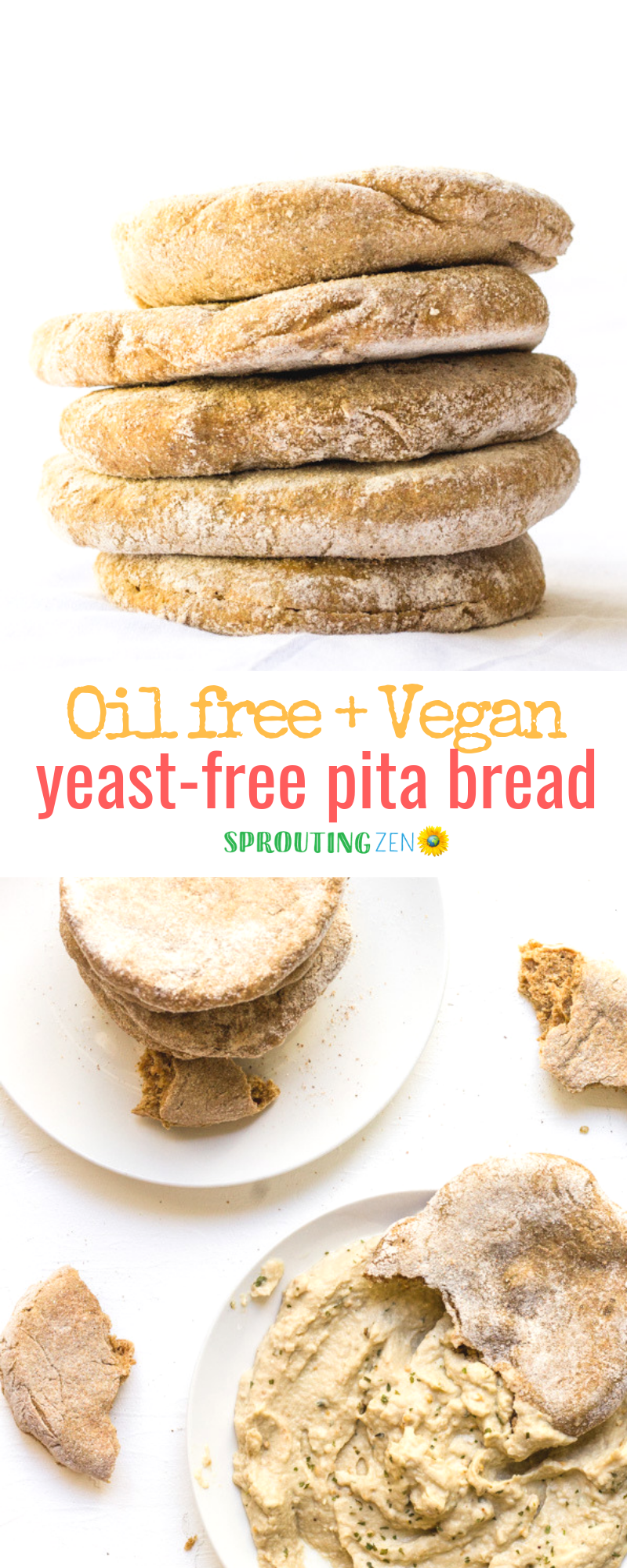 Yeast-free spelt flour pita bread that is so yum and fluffy! Oil free too! #vegan #plantbased | Sprouting Zen