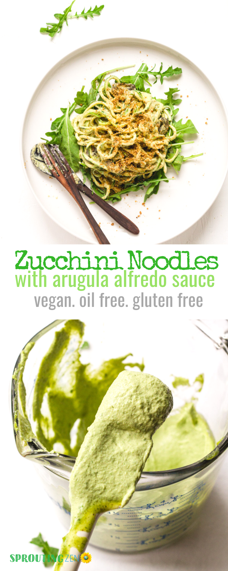 Vegan zucchini noodles (zoodles!) topped with an oil free creamy arugula alfredo sauce. Enjoy them raw or cooked - perfect lunch or dinner idea! #vegan #plantbased #healthy