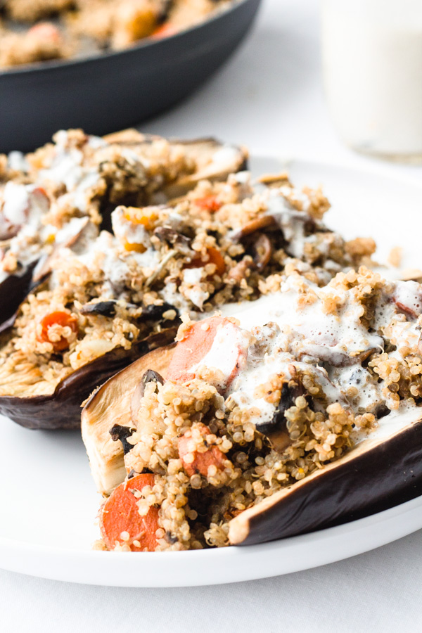 vegan stuffed eggplant on a plate