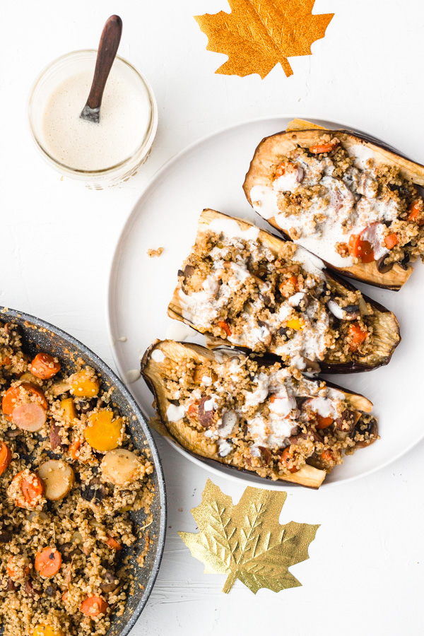 vegan stuffed roasted eggplant on a dish