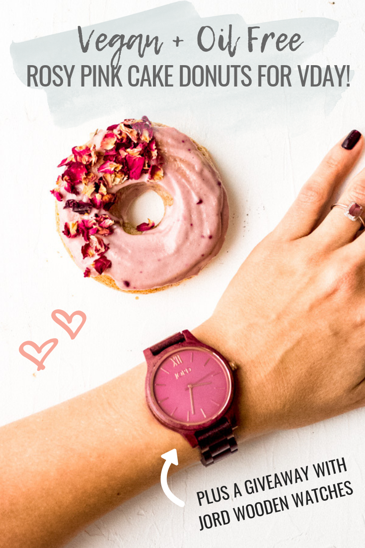 Vegan Rosy Pink Cake Donuts Oil Free + Jord Wooden Watch Giveaway | Sprouting Zen