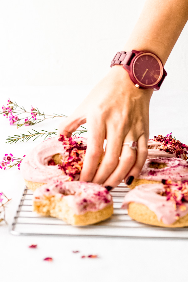 Jord Wooden Watch and Pink Vegan Donuts