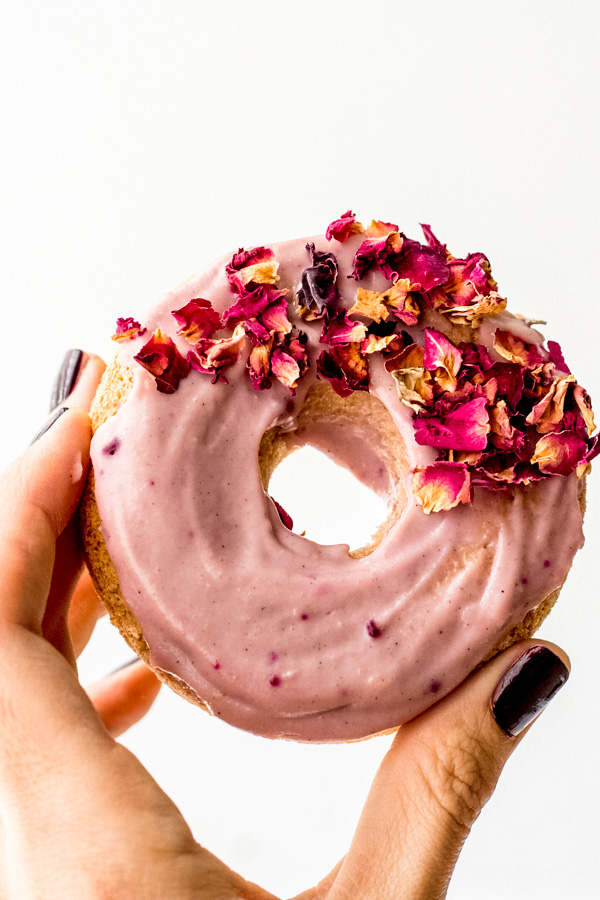 rosy pink vegan cake donuts oil free sugar free healthy