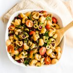 Kidney Bean Chickpea Shell Salad With Orange Tahini Dressing