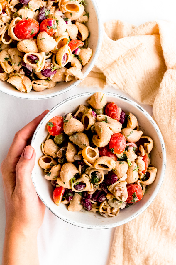 Kidney Bean Chickpea Shell Salad With Orange Tahini Dressing