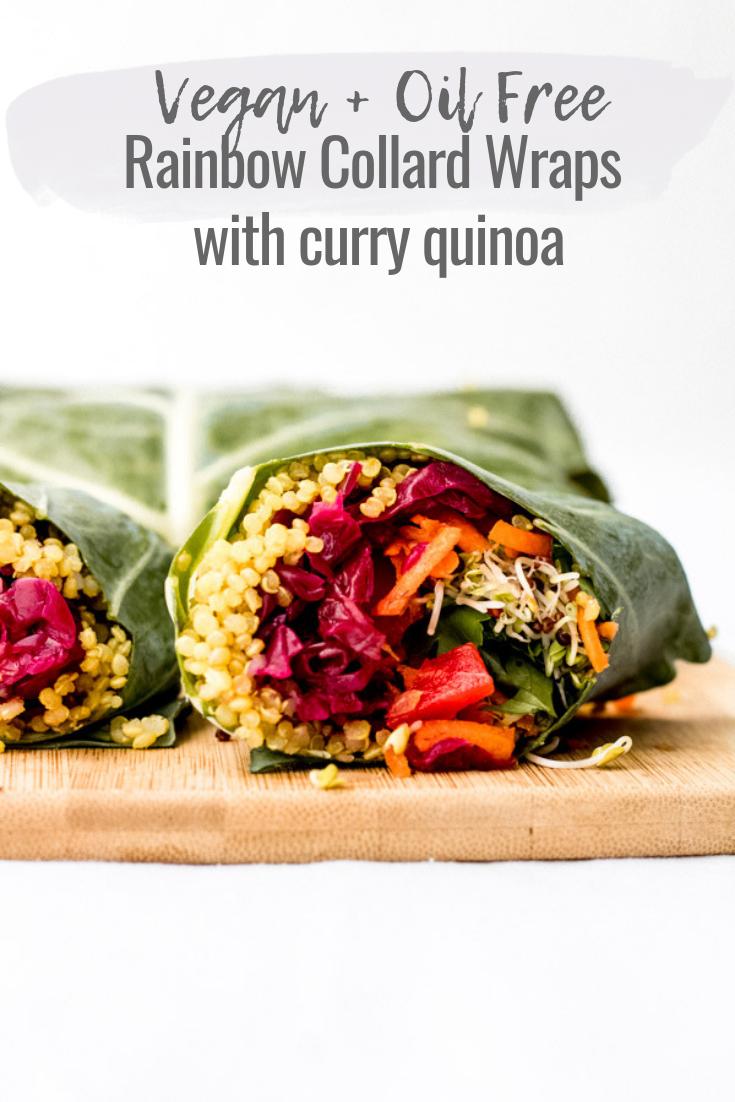vegan rainbow collard wraps with curry quinoa