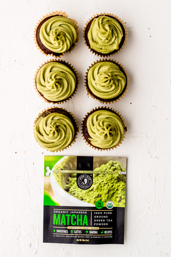 vegan chocolate cupcakes with a green matcha frosting | Sprouting Zen