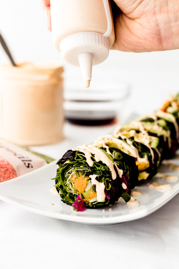 smoky red lentil rainbow nori sushi roll