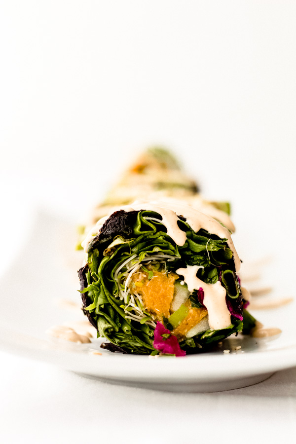 vegan smoky red lentil rainbow sushi nori roll