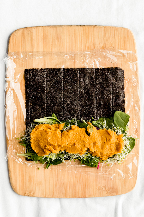 vegan smoky red lentil rainbow sushi nori roll