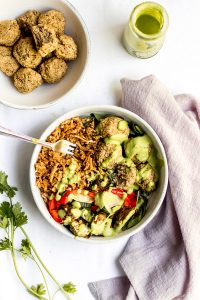 vegan baked lentil falafel summer bliss bowl