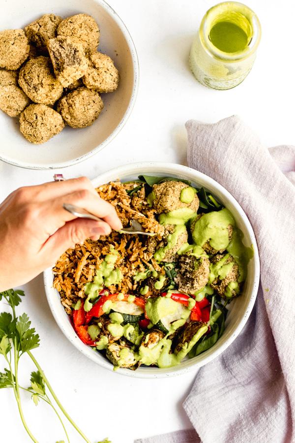 vegan baked lentil falafel with summer bliss bowl