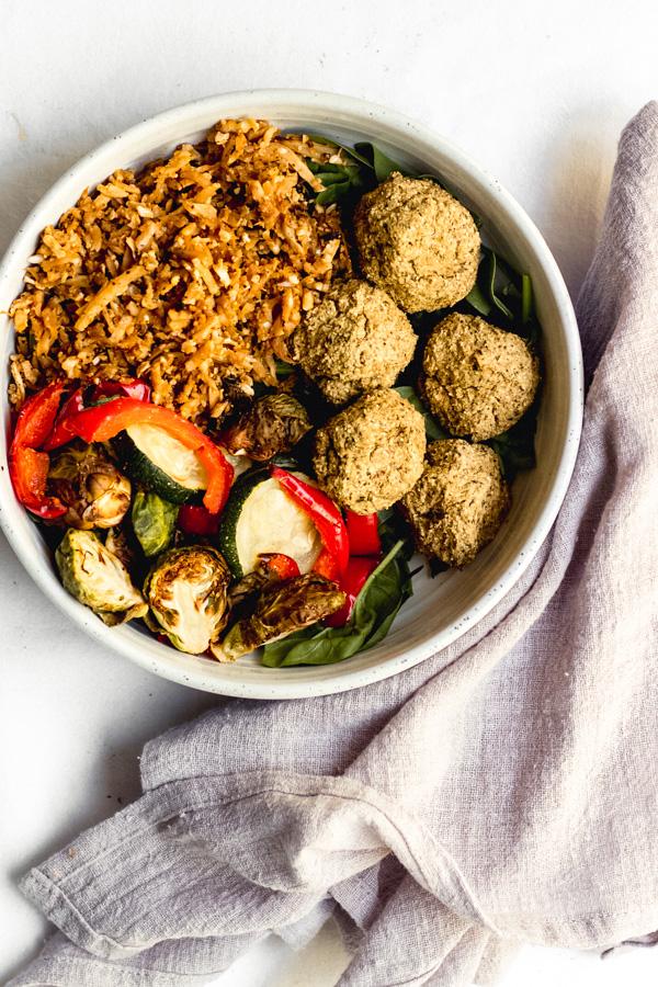 vegan baked lentil falafel summer bliss bowl recipe