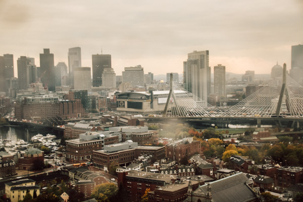 view of boston city on bunker hill